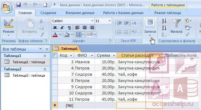 Фильтрация, сортировка и поиск данных в Microsoft Access - Базы данных Access