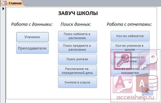 Готовая база данных Access Школа - Базы данных Access