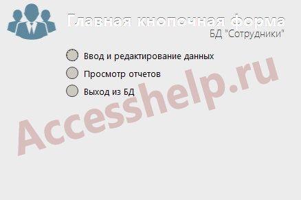 База данных Access Сотрудники